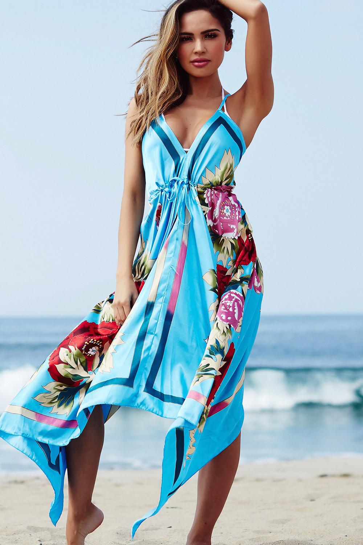Quot Bahama Mama Quot Sky Blue Boho Print Beach Dress