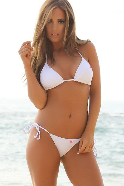 Venice Solid White Triangle Bikini Top & Sexy Micro Scrunch Bottom Swimsuit