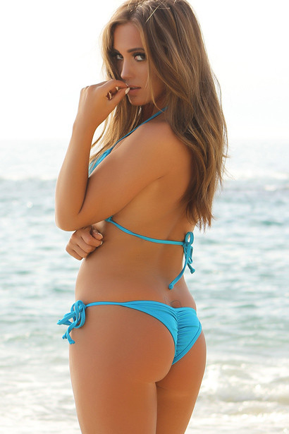 Venice Solid Turquoise Triangle Bikini Top & Sexy Micro Scrunch Bottom Swimsuit