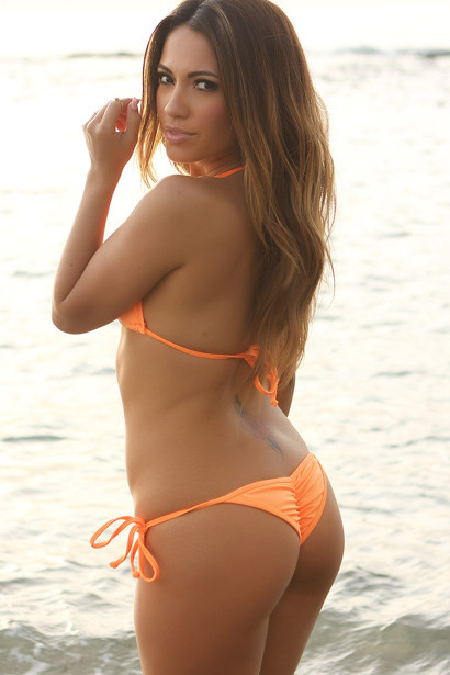 Venice Solid Neon Orange Triangle Bikini Top & Sexy Cheeky Micro Scrunch Bottom Swimsuit