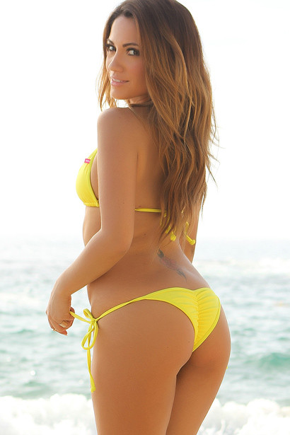 Venice Solid Yellow Triangle Bikini Top & Sexy Cheeky Micro Scrunch Bottom Swimsuit
