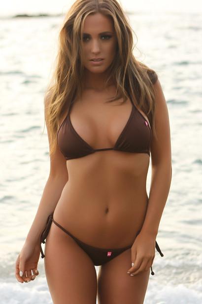 Venice Solid Brown Triangle Bikini Top & Sexy Micro Scrunch Bottom Swimsuit