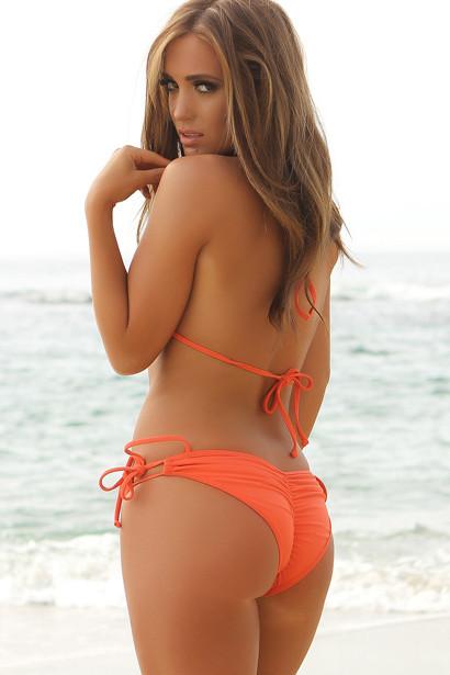 San Diego Coral Orange Triangle Bikini Top & Double Rise Scrunch Bottom Swimsuit