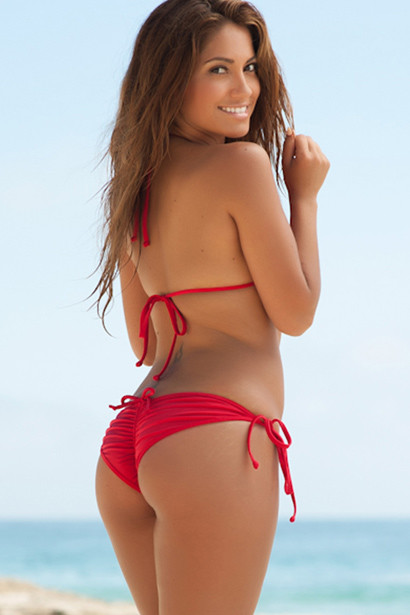 San Pedro Solid Red Triangle Top Single Rise Scrunch Up® Sexy Swimwear