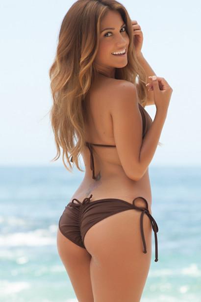 San Pedro Solid Brown Triangle Top Classic  Scrunch Up® Sexy Swimwear