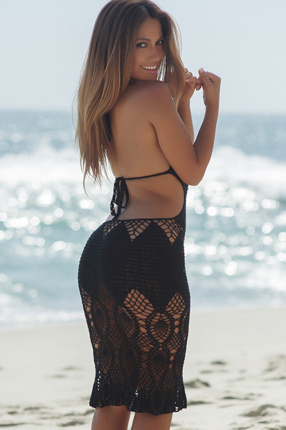 Passion Flower Black Backless Crochet Midi Dress Cover Up
