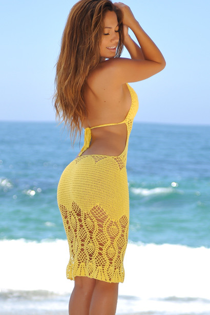 Passion Flower Yellow Backless Crochet Midi Dress Cover Up