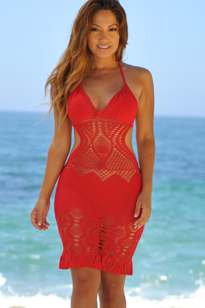 Passion Flower Red Backless Crochet Midi Dress Cover Up