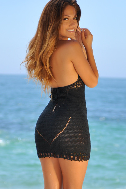 Malibu Cocktail Black Sexy Cut Out Crochet Beach Dress