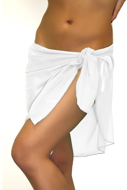 Martini White Short Mesh Wrap Sarong Bikini Cover Up