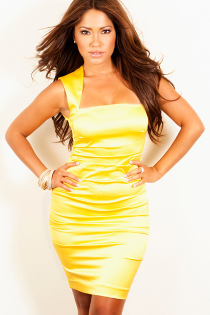 Sexy Dress Fitted Yellow Zipper Back