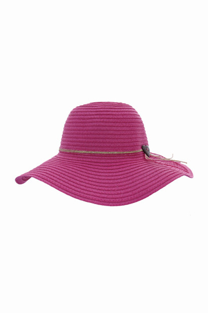 Hat Floppy Beach Pink with heart twine tie