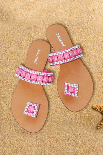 Sandals Fuchsia Jeweled Single Strap