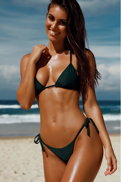 Hunter Green Triangle Top & Hunter Green Cheeky Micro Bikini Bottom