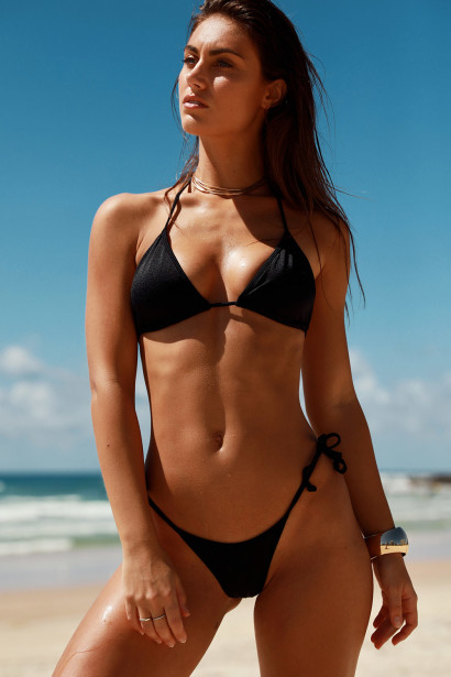 Venice Solid Black Triangle Bikini Top & Sexy Cheeky Micro Scrunch Bottom Swimsuit