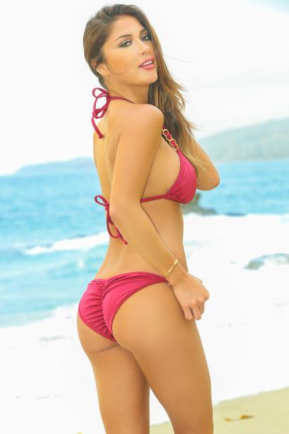 5ad6e8e2bdafc Oahu Bikini on a Chain™ Burgundy Triangle Top   Single Rise Scrunch Bottom