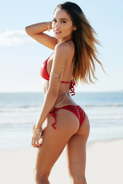 Bahia Sexy Red Shimmer Triangle Top & Micro Rise Scrunch Bottom Shiny Swimsuit