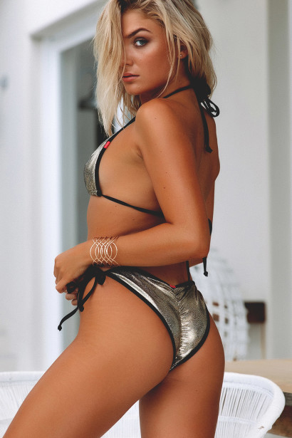 Laguna Cosmic Gold & Black Classic Bikini Top & Panama Cosmic Gold & Black Classic Bikini Bottom