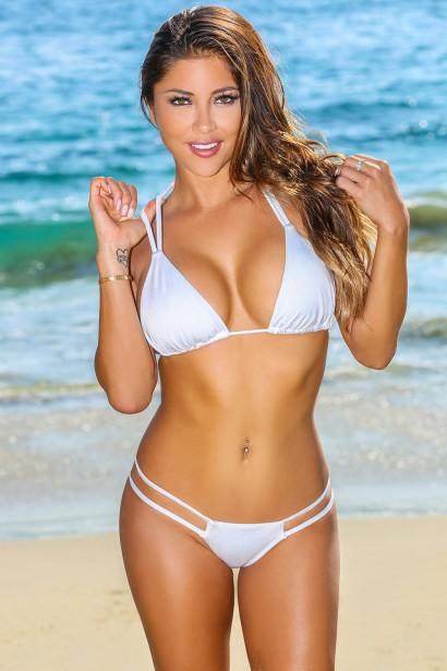 3a0e40583e White Double Strap Bikini Top   White Double Strap Micro Bikini Bottom