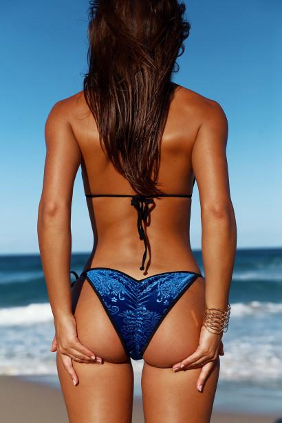 Laguna Classic Royalty Blue Velvet & Black Bikini Top & Panama Classic Royalty Blue Velvet & Black Bikini Bottom