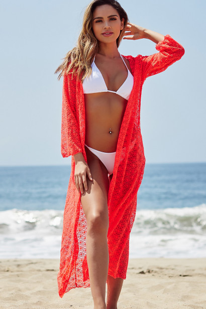 LA Sunrise Coral Crochet Beach Cover Up