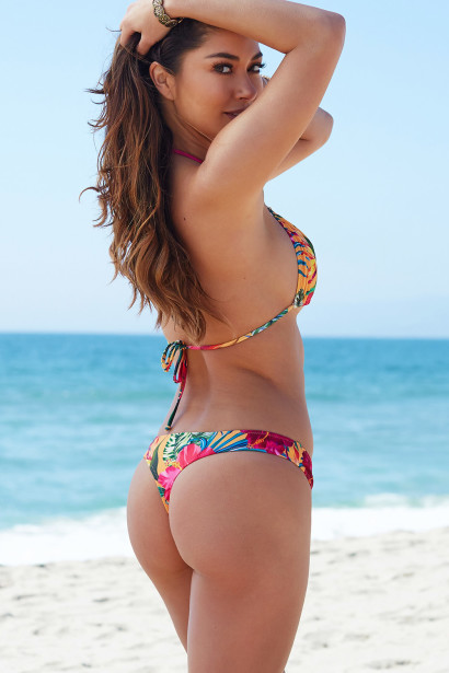 Sunset Tropical Print Triangle Top   Sunset Tropical Banded Brazilian Thong  Bottom 4f3710971