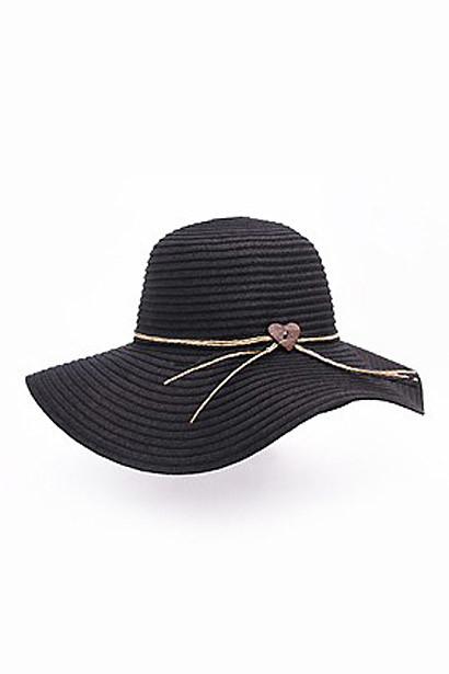 Black Floppy Beach Hat with Heart Tie
