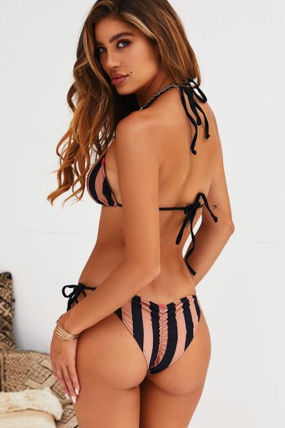 Black & Taupe Stripes Triangle Top & Black & Taupe Stripes Classic Scrunch Bottom