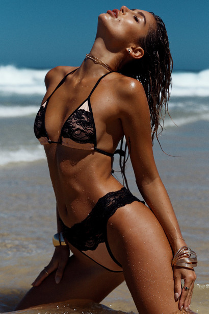 Maui Blush & Black Triangle Top Scrunch Bottom Sexy Lace Bikini Swimsuit