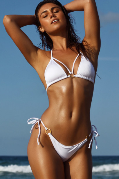 White Double Strap Center Loop Triangle Top & White Side Loops Classic Scrunch Bottom