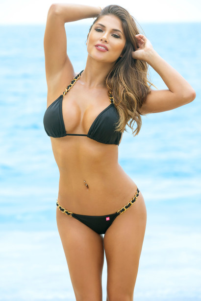 Brazil Bikini on a Chain™ Sexy Black Triangle Top & Micro Scrunch Bottom