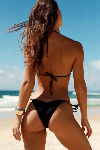 Venice Solid Black Triangle Bikini Top & Sexy Cheeky Micro Scrunch Bottom Swimsuit
