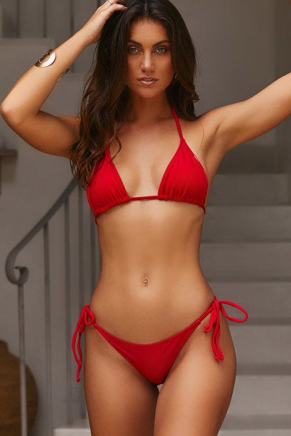 Red Ribbed Triangle Top & Red Ribbed Classic Scrunch Bottom