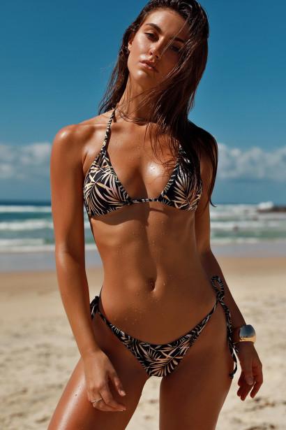 Laguna Black Palm Triangle Bikini Top & Panama Black Palm Classic Bikini Bottom