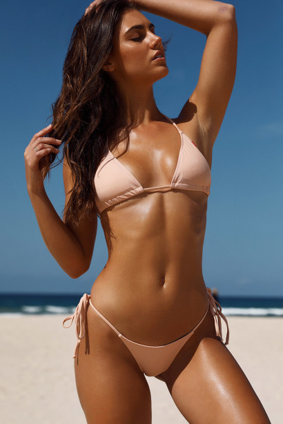 Blush Triangle Top & Blush G-String Thong Bottom