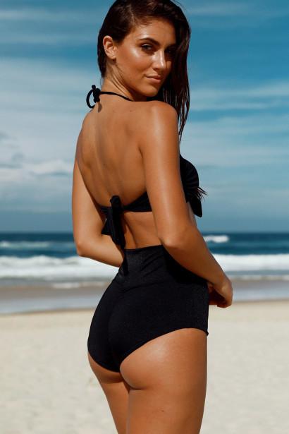 Waikiki Black Bandeau Top & Scrunch Bottom Retro Sexy High Waist Bikini