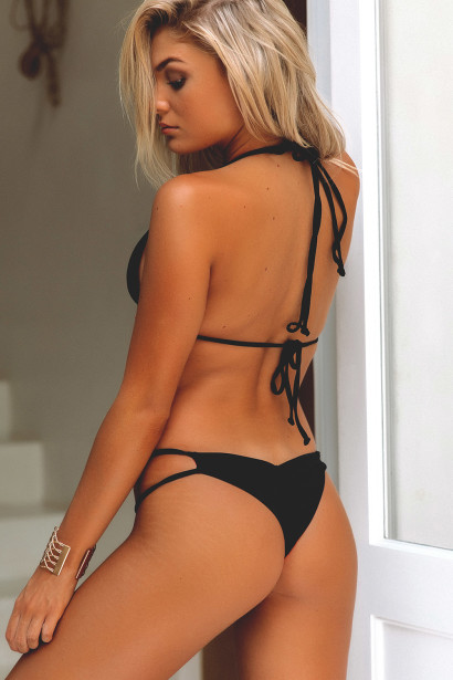 Solid Black Double Strap Triangle Top & Cheeky Micro Scrunch Swimsuit