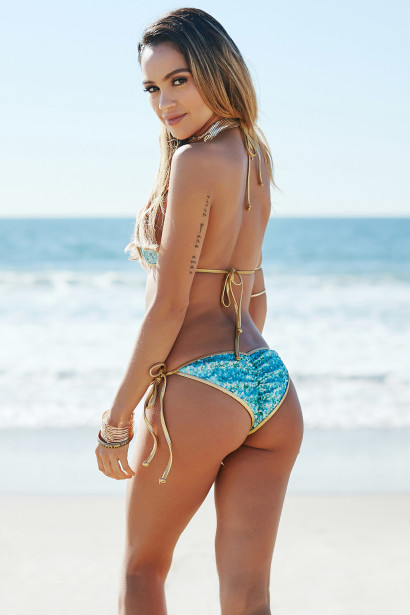 Amsterdam Gold & Aqua Sequins Single Rise Scrunch Bottom Sexy Ring Bikini
