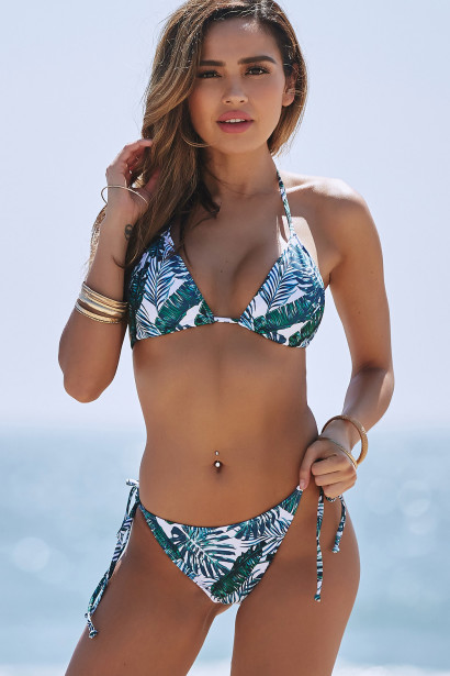 Tropical Palm Print Triangle Top & Tropical Palm Print Full Coverage Scrunch Bottom