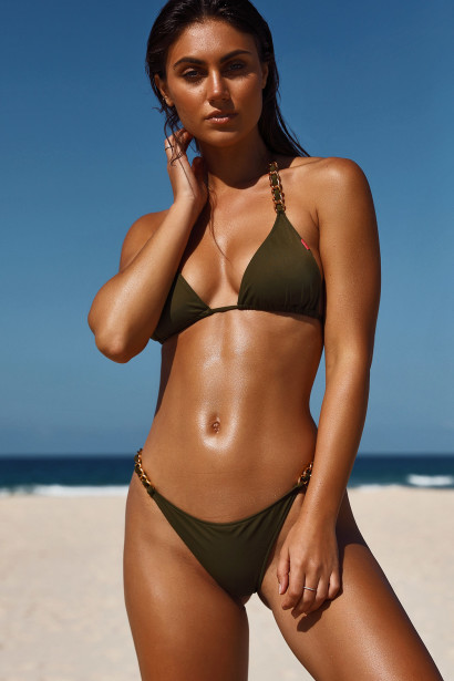 Olive Triangle Bikini On a Chain Top & Olive Classic Bikini On a Chain Bottom