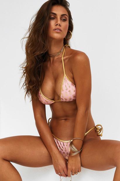 Laguna Blush & Gold Pineapple Classic Bikini Top & Panama Blush & Gold Pineapple Classic Bikini Bottoms