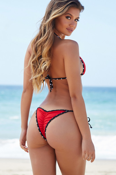 Sedona Red & Black Triangle Top Sexy Micro Rise Polka Dot Bikini