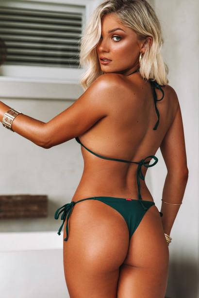 Hunter Green Triangle Top & Hunter Green Brazilian Thong Bottom