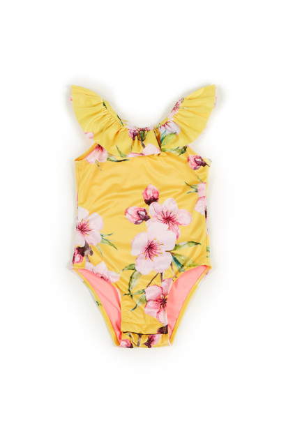 Cleo Yellow Cherry Blossom Print Baby/Toddler One Piece Swimsuit