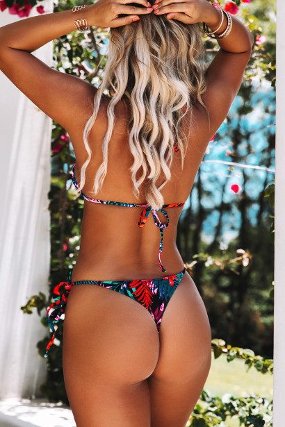 Black Tropical Triangle Top & Black Tropical Brazilian Thong Bottom
