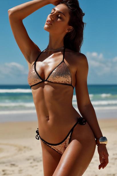 Vegas Gold & Black Triangle Top & Single Rise Scrunch Bottom Sexy Sequin Bikini
