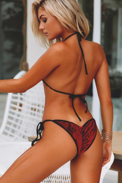 Laguna Classic Royalty Red Velvet & Black Bikini Top & Panama Classic Royalty Red Velvet & Black Bikini Bottom