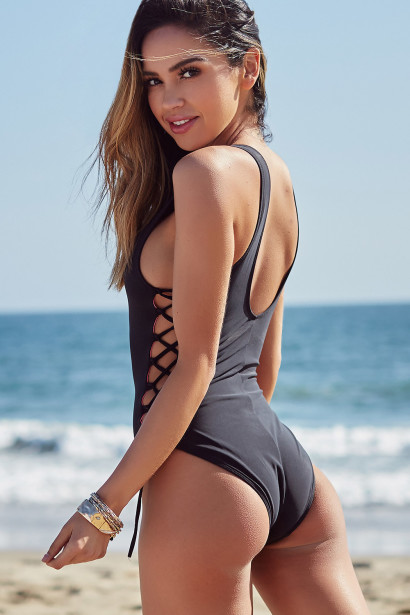 Kandy Black Side Lace Up One Piece Swimsuit