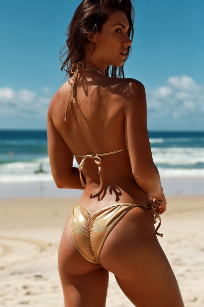 Cabo Sexy Metallic Gold Triangle Top Single Rise Scrunch Bottom Ring Bikini
