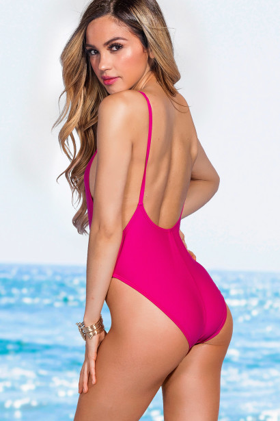 Palmetto Fuchsia Spaghetti Strap High Cut One Piece Swimsuit